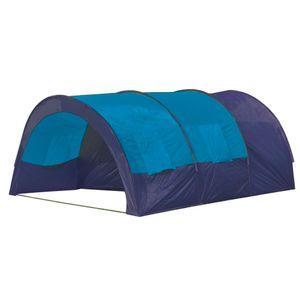 Campingzelt 6 Personen Stoff Blau/Dunkelblau