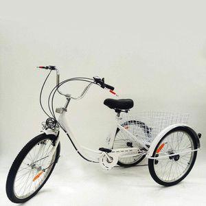 26 Zoll Dreirad für Erwachsene,Senioren 3 Räder Seniorenrad Cityräder Dreirad,6 Gänge mit Korb,Weiß,für Einkaufen,ShoppingCitybikes