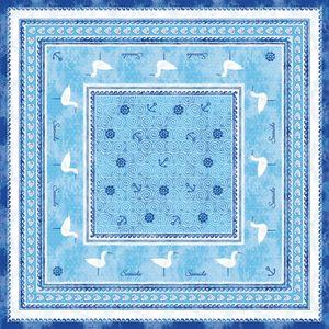 Sovie HOME Tischdecke Seaside in Blau aus Linclass® Airlaid 80 x 80 cm, 1 Stück - Einweg Mitteldecke Maritim