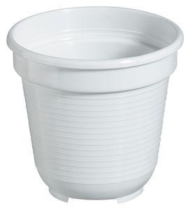 20er Set Blumentopf Standard 14 cm rund aus Kunststoff Sparpaket, Farbe:weiß