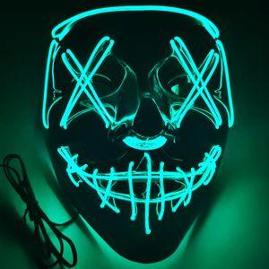 Halloween Maske LED Purge Maske mit 3 Blitzmodi für DJ Party Fasching Karneval Kostüm Cosplay (Eisblau)