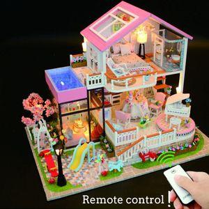 Fernbedienung Led Puppenhaus Traum Große Villa Diy Holz licht Kinder Geschenk