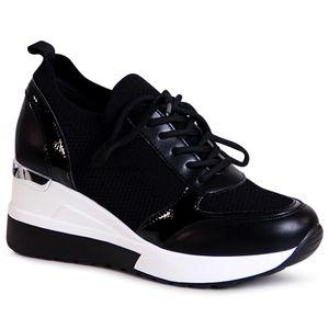 topschuhe24 2004 Damen Keilabsatz Sneaker Halbschuhe, Farbe:Schwarz, Größe:39 EU