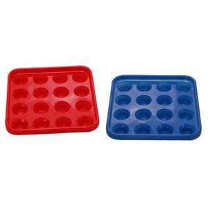 """2 Stück Billard Snooker Pool Ball Tray Für 16 Bälle, 2 \""""und 2 1 / 4\"""", Rot Blau"""
