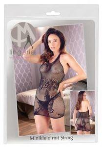 Mandy Mystery lingerie Kleid Netzminikleid Neckholder - Farbe: schwarz - Größe: S-L