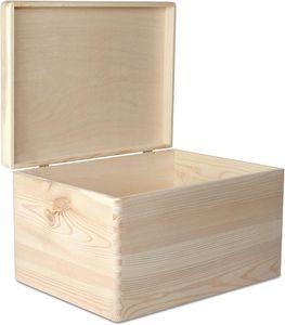 Creative Deco XXL Große Natur Holz-Kiste mit Deckel | 40x30x24 cm (+/-1cm) | Erinnerungsbox Baby | Holz-box Unlackiert Kasten | ohne Griffen | Dokumente, Spielzeug, Werkzeuge | ROH & UNGESCHLIFFEN