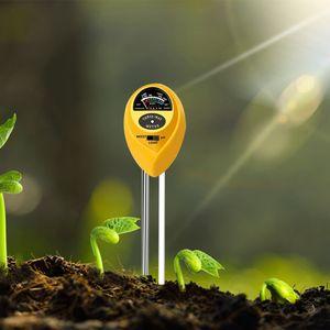 Bodentester, 3-in-1 Boden Feuchtigkeit und PH, Lichtintensität Bodentester für Pflanzenerde, Garten, Bauernhof, Rasen, Drinnen und draußen (Gelb)