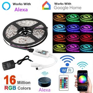 5M RGB LED Lichtstreifen, Smart Home Alexa Wifi Drahtlose App Kontrollierte Lichtstreifen Rope Kit Dekoration Lichter Arbeiten mit Alexa & Google Assistant