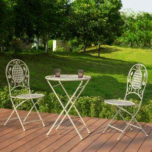 SoBuy OGT35-W 3-teiliges Balkontisch mit 2 Stühlen Balkonset Gartenmöbel Set Bistroset klappbar Gartengarnitur beige