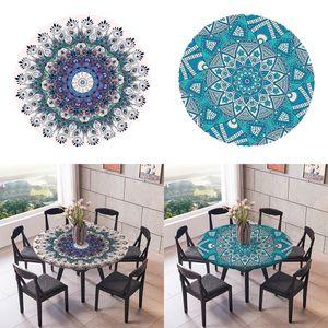 2 Stück Runde Vinyl Elastische Tischdecke   2 Stil Wasserdichte Tischdecke Küchentisch Nachbildung   Passt Für Tische Bis Zu 59 \'\' Durchmesser