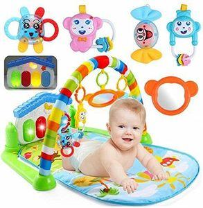 3-in-1-Spielmatte für Babys mit Baby-Klavier, Spielmöglichkeiten, Musik und Beleuchtung Piano Krabbeldecken
