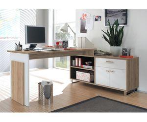 39-730-68-4 Schreibtisch Bürotisch Büro Winkelkombination Manager Eiche sägerau Nachbildung / weiss