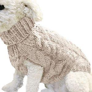 ASKSA Hundepullover Haustier Warmer Mantel Strickwolle Winterpullover für kleine und mittelgroße Hunde(Beige,L)