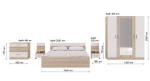 Schlafzimmer Komplett Set 6 tlg Eiche sonoma / Weiß