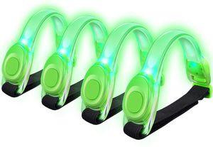 4 Stuck LED Armband, Reflective LED Armbänder Leuchtband Reflektor Kinder Nacht Sicherheits Licht für Laufen, Joggen, Hundewandern, Bergsteigen, Running, Jogging und Outdoor Sports (Grün)