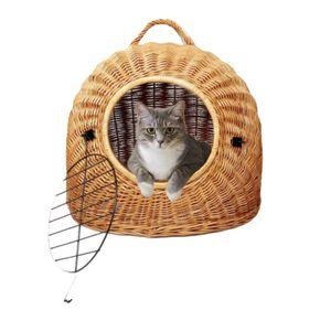 Katzenkorb aus Weide (Große L, Farbe Natural) absoluter Klassiker, hochrobuste Katzentransportbox, von Hand geflochten, für Katzen und kleine Hunde