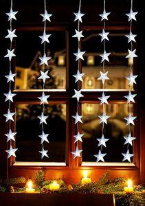FHS LED-Vorhang 1 x 1,2 m, 5 Stränge x 8 Stern-Ornamente IP44 Außenadapter ***NEU***