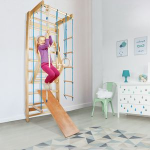 Sprossenwand Kletterwand Turnwand Klettergerüst Turngeräte Holz Kinder indoor, Farbe:Blue