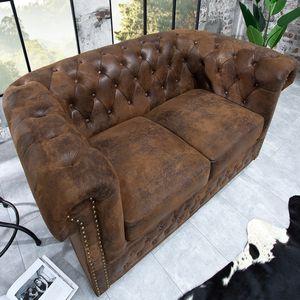 Chesterfield Design 2er Sofa 150cm antik braun mit Knopfheftung und Federkern 2-Sitzer Couch