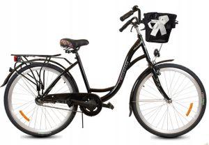 Polbaby Fahrrad Damen Citybike 26 Zoll Damka Holland Retro Schwarz-Metall Korb