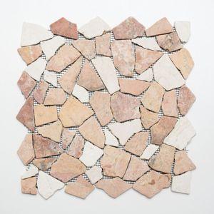 Mosaik Fliese Marmor Naturstein beige rot Bruch Ciot RossoCream MOS44-30-130_f