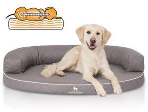 Knuffelwuff Orthopädisches halbrundes Hundebett Hanna aus laser-gestepptem Kunstleder L-XL 100 x 73cm Grau