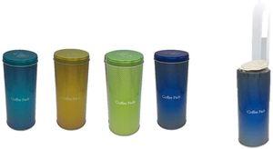 4x Kaffeepaddose - Dekorative Vorratsdosen Türkis Gold grün blau - Aufbewahrungsbehälter für Kaffeepads von James Premium®