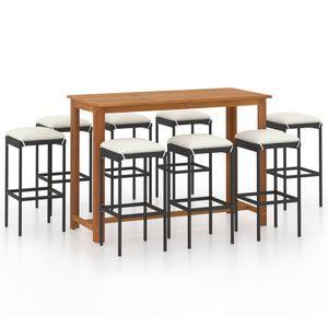 9-TLG. Gartenbar-Set, 8 Barhocker + Tisch, Garten-Essgruppe Sitzgruppe für 8 Personen mit Kissen Schwarz☆7010