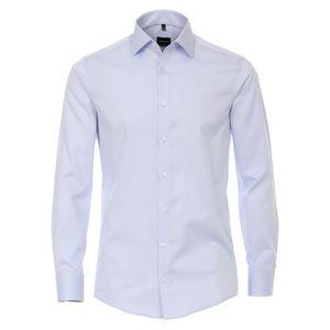 Größe 41 Venti Hemd Blau Uni Twill 72er Extralanger Arm Modern Fit Tailliert Kentkragen 100% Baumwolle Bügelfrei