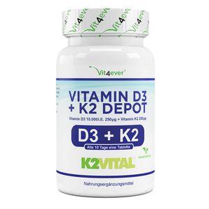 Vitamin D3 10.000 I.E. + Vitamin K2 200 mcg - 180 Tabletten
