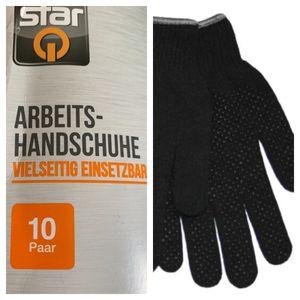 10 Paar Handschuhe Montagehandschuhe Arbeitshandschuhe PVC-Noppen Schwarz Grau