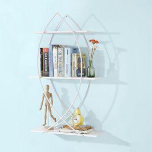 SoBuy® Wandregal in Fischdesign Bücherbord mit 3 Ablagen und Metall,Hängeregal ,FRG192-W