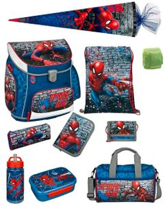 Spiderman Schulranzen Set 10 tlg. Scooli Campus Fit Ranzen 1. Klasse blau mit Sporttasche und Schultüte 85cm Marvel Super-Held