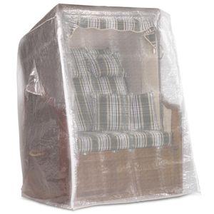 Strandkorb Schutzhülle 130 cm breit in transparent, Strandkorbhülle mit reißverschluss, Strandkorbabdeckung