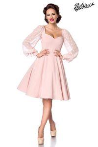 Damen Vintage Retrokleid mit langen Ärmeln, Farbe: Rosa, Größe: S