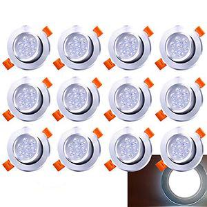 karpal LED Einbaustrahler Schwenkbar 12X 7W 230V Einbauleuchte LED Deckenstrahler Kaltweiss Wohnzimmer Deckenleuchte Bad Deckeneinbauleuchte