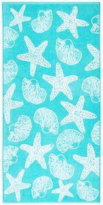 Strandtuch, 100% Baumwolle, 90x180 cm, türkis mit Meerestieren