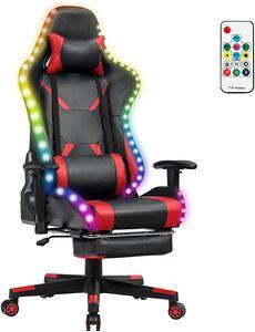 COSTWAY 360°drehbarer Gaming Stuhl mit 358 Lichtmodi, PC Stuhl mit Verstellbarer Armlehne, Rückenlehne und Fußstütze, Racingstuhl inkl. Fernbedienung, Kopf- und Lendenwirbelkissen Rot