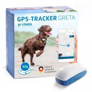 Prothelis Greta Hunde GPS Tracker für Halsband |  Germany | Gerät zur Hunde Ortung mit Handy schnell und genau | GPS Peilsender zur Hundeortung wasserdicht | Hundetracker Hundehalsband