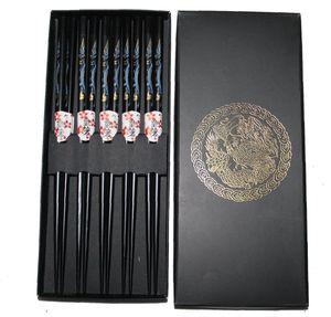 045 Chopsticks 5 Paar Stäbchen Eßstäbchen Essstäbchen Bambus Holz schwarz