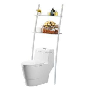 Regal Badregal Toilettenregal Waschmaschinenregal aus Bambus Waschmaschinenschrank mit 2 Ablagen-173x66x25cm Weiß