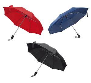 3er-Pack Taschen-Regenschirm mit Schutzhülle, Farben: je 1x schwarz, dunkelblau, rot