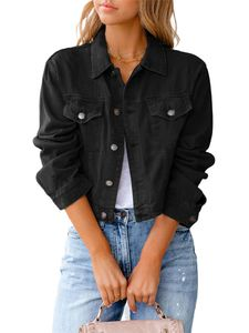 Damen kurze Jeansjacke kurzes schmales Oberteil,Farbe: Schwarz,Größe:S