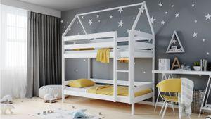 Kinderbett Etagenbett 3ft Einzelbett 90x190 90x200 80x160 cm Einzelbett Aus Kiefer Massivholz Für Kinder  - Weiß - 200 x 90 cm