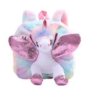 Plüsch Mini Einhorn Rucksack, niedlich Plüsch Einhorn Rucksack für Mädchen Schultasche Reisetasche Kleine Mädchen Jungen Tier Rucksäcke Geschenke