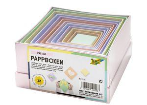 folia Pappboxen PASTELL eckig 12 Stück sortiert