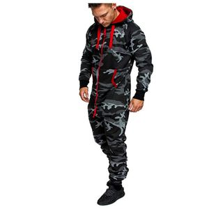 Männer Pure Color Splicing Herbst Winter Casual Hoodie Print Reißverschluss Print Jumpsuit Größe:L,Farbe:Bunt