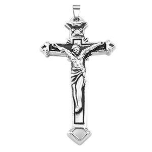 Anhänger Kreuz Edelstahl Halskette Jesus Christus Lederkette Kugelkette Damen Herren silber-nur-anhänger