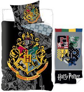 Harry Potter - Wende-Bettwäsche-Set, 135x200 und Badetuch, 70x140