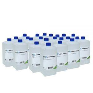 Medicalcorner24 Bidestilliertes Wasser AQUA BIDEST, Laborwasser, Reinst-Wasser, 23x 1 Liter